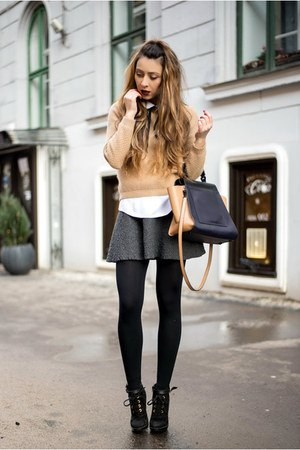 crepe fitted sweater with wool mini skater skirt