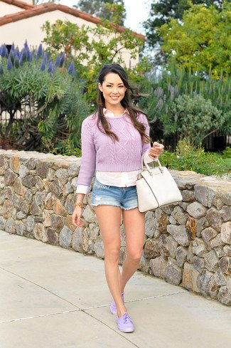cropped sweater with white shirt and denim shorts