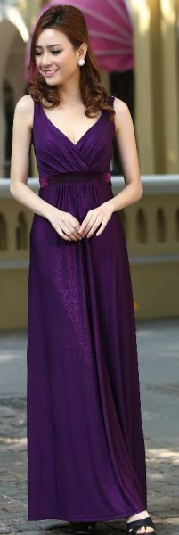 dark purple deep v neck maxi dress with black open toe heels