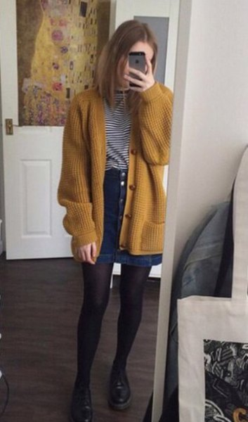 dark yellow ribbed oversized cardigan with denim button front mini skirt