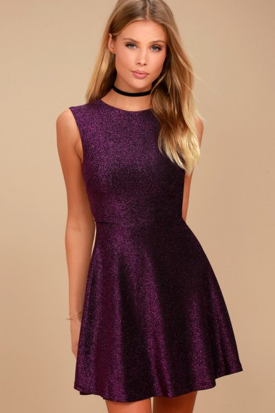 deep purple sleeveless fit and flare mini dress with black choker