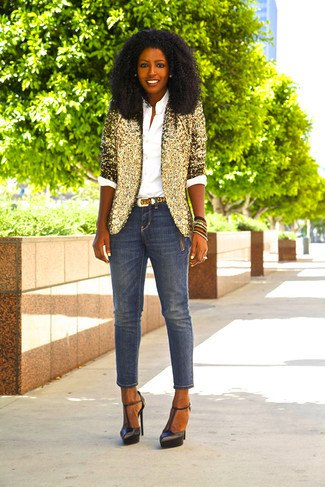 gold sequin half sleeve blazer with cropped skinny jeans