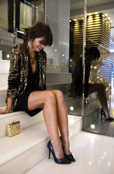 gold sequin jacket with black deep v neck mini shift dress