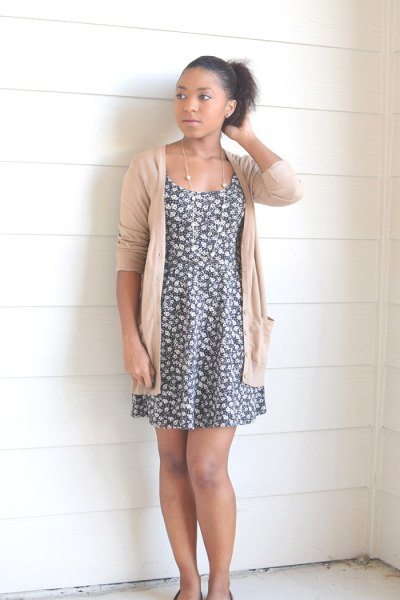 grey and white floral mini swing dress with ivory cardigan