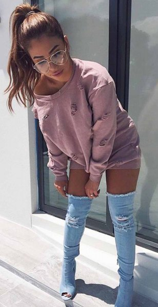 grey boat neck sweatheart dress with denim open toe thigh high boots