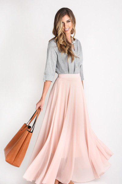 grey cotton button up shirt with pale pink chiffon maxi skirt