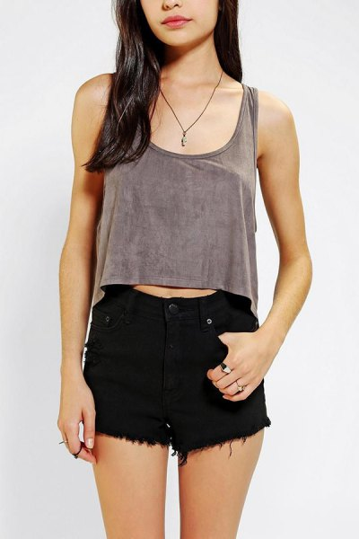 grey cropped vest top with black denim mini shorts