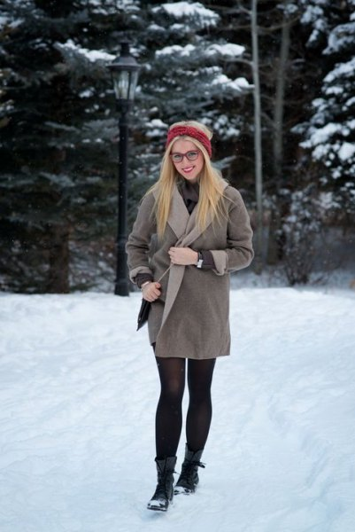 grey fleece wrap coat dress with stockings and black snow boots
