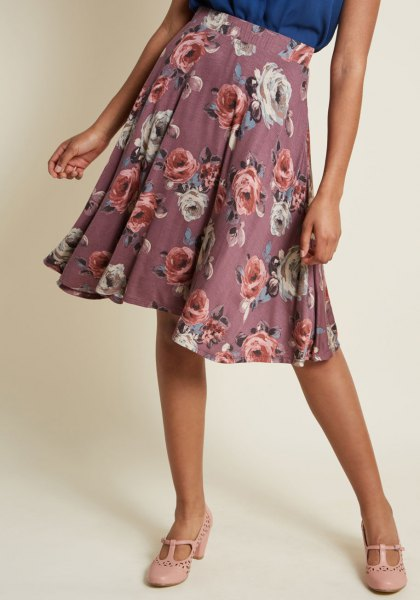 grey floral printed midi pleated skirt