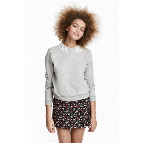 grey lace collared sweatshirt with black mini printed skirt