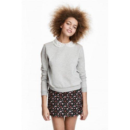 grey lace collared sweatshirt with black mini printed skirt