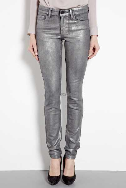 grey long sleeve tee with silver metallic jeans