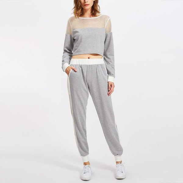 grey mesh and cropped sweatshirt with matching jogger pants