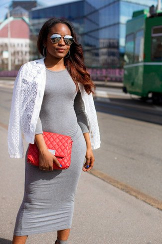 grey midi dress with white crochet cardigan