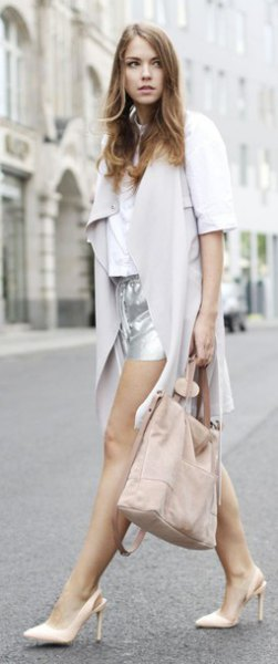 grey midi length chiffon jacket with silver mini shorts