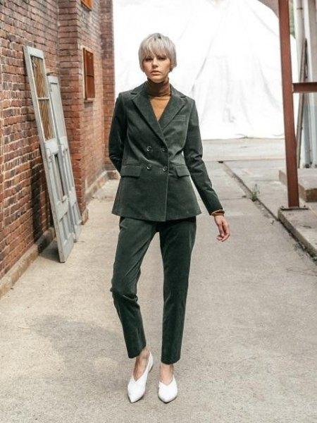 grey oversized corduroy blazer with matching pants