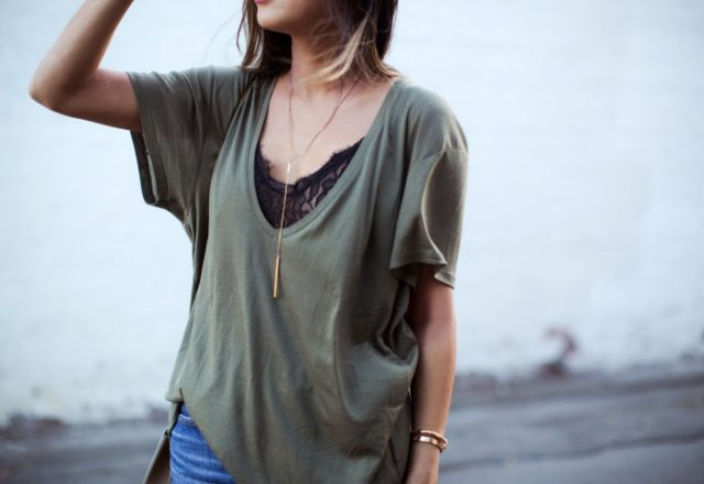 grey oversized low cut t shirt over black lace top