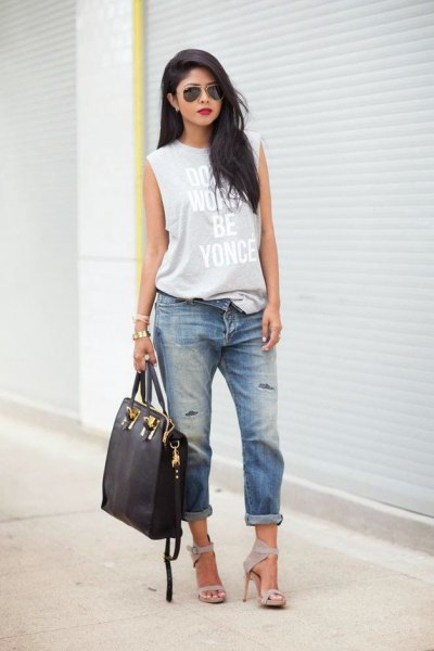 grey printed long tank top with cuffed boyfriend jeans