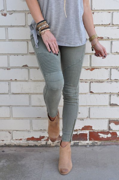 grey t shirt with matching moto skinny jeans