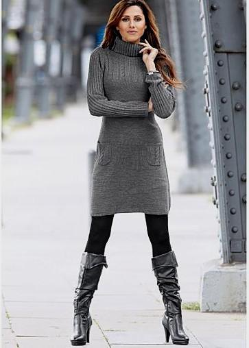 grey turtleneck sweater dress with black knee high leather boots