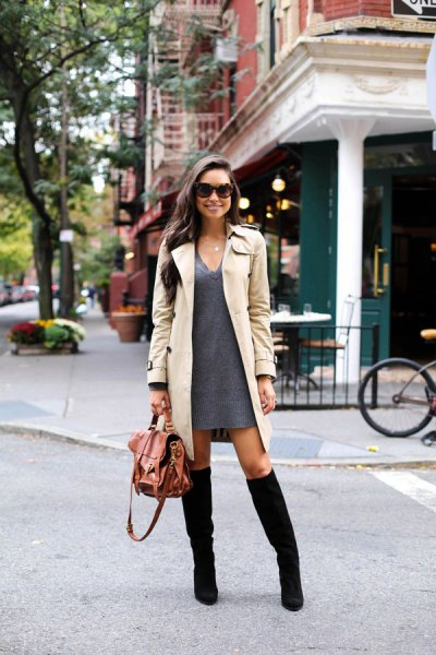 grey v neck sweater dress with beige longline trench coat
