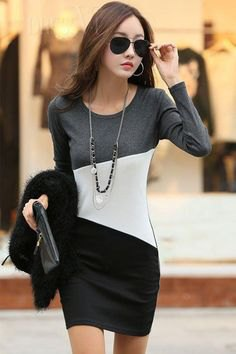 grey white and black color block long sleeve bodycon mini dress