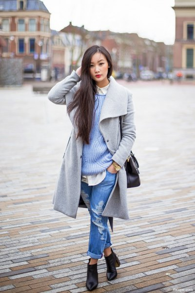 grey wool long coat with ribbed sweater and boyfriend jeans