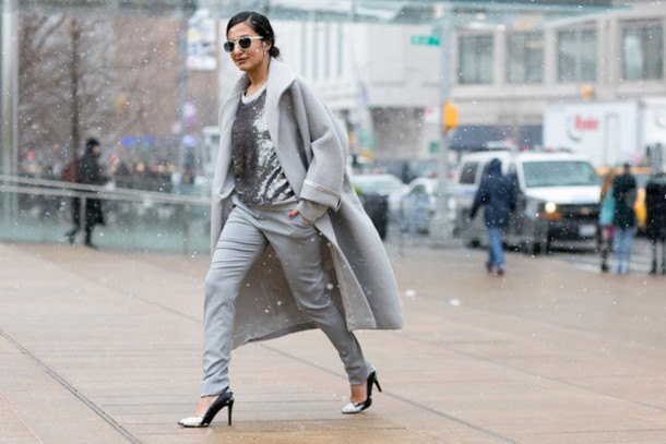 grey wool long coat with silver sequin blouse