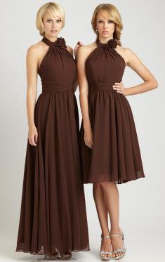 halter neck fit and flare pleated brown dress