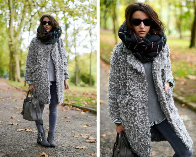 heather grey fuzzy sweater jacket with skinny jeans