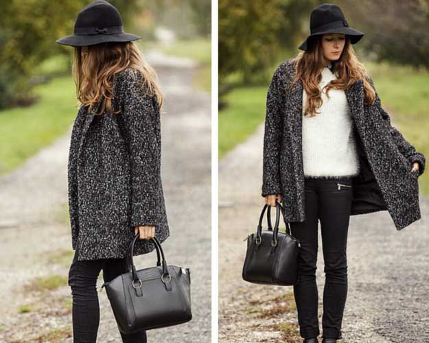 heather grey sweater coat with black floopy hat and skinny jeans