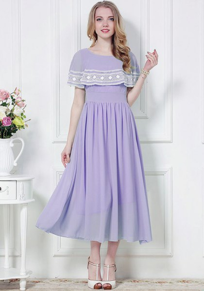 lavender and white folder shoulder maxi chiffon dress