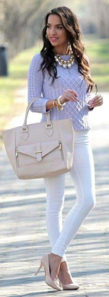 lavender cable knit sweater with white skinny jeans