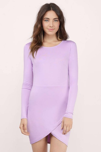lavender cotton long sleeve form fitting mini dress