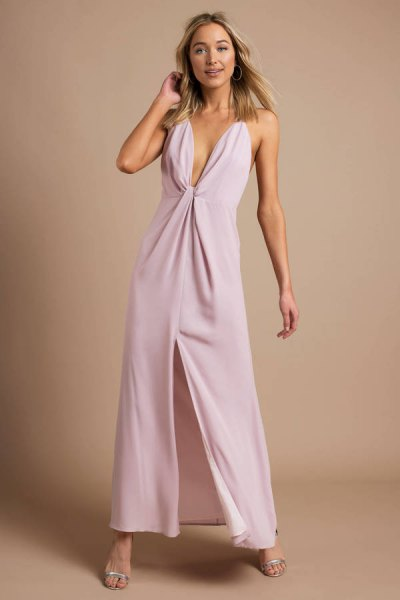 lavender deep v neck high split maxi dress