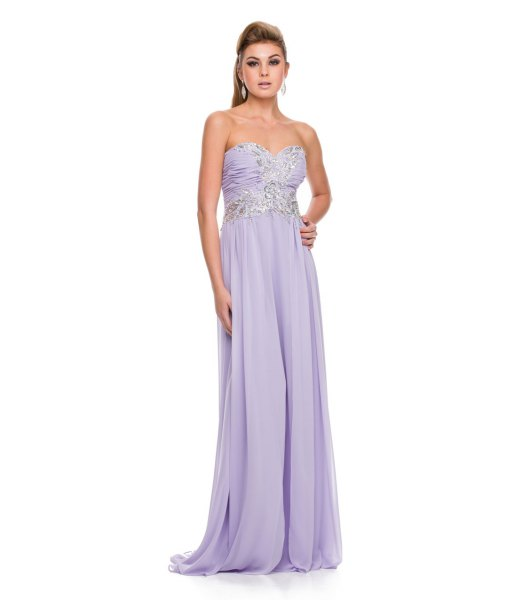 lavender strapless fit and flare maxi flowy prom dress