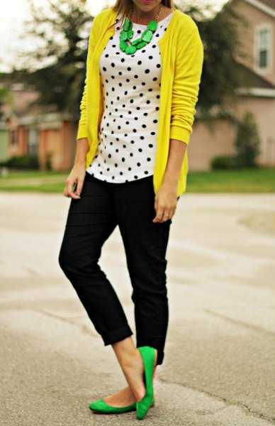 lemon yellow cardigan with white and black polka dot tank top