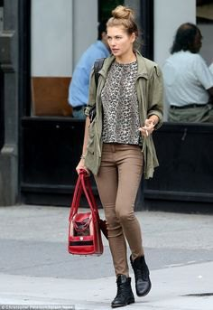 leopard print blouse with brown shirt jacket and matching jeans