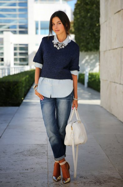 light blue blouse with navy short sleeve short sweater