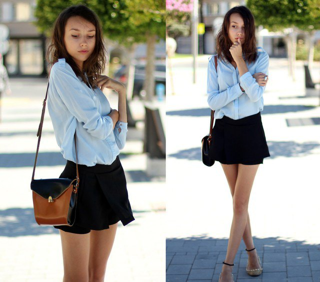 light blue button up chiffon blouse with black flowy mini shorts