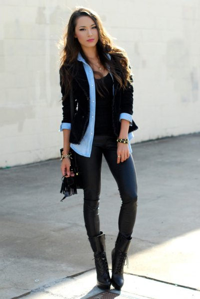 light blue chambray shirt with black corduroy blazer and dark blue skinny jeans