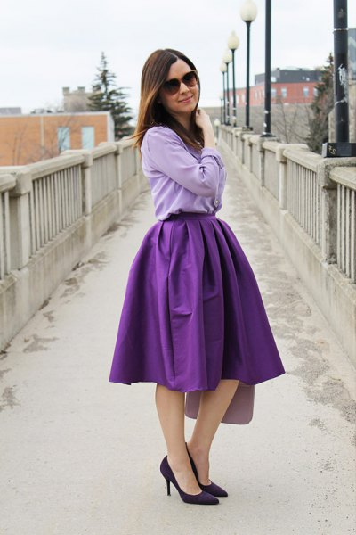 light blue chambray shirt with purple flared midi skirt