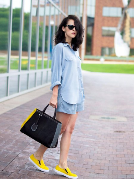 light blue cotton button up shirt with matching flowy shorts and yellow shoes