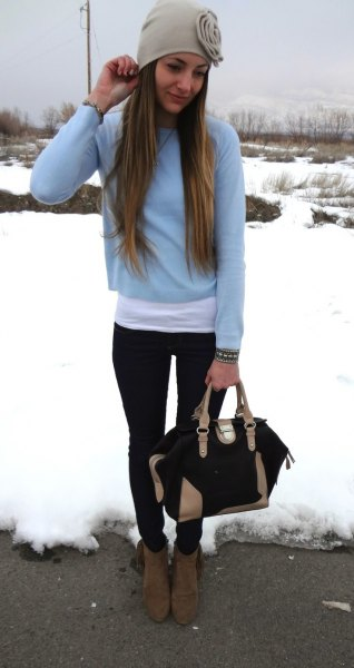 light blue cropped sweater with long white t shirt
