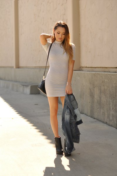 light grey and white striped short sleeve mini dress