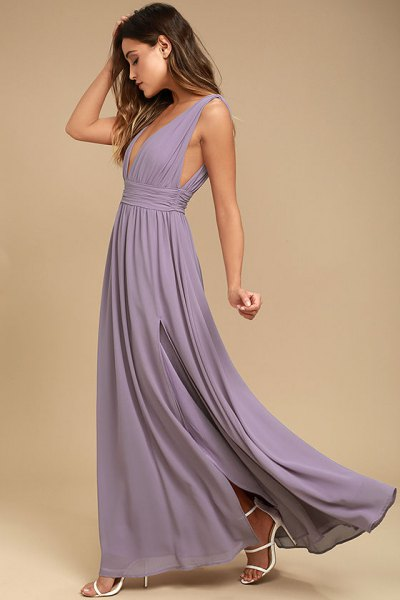 light purple deep v neck floor length pleated dress