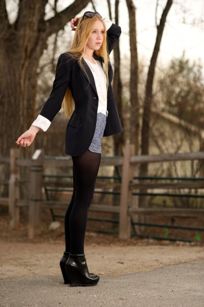 long black blazer and mini grey skirt