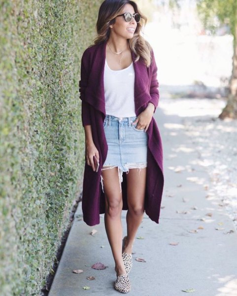 long purple cardigan with white scoop neck vest top and denim skirt