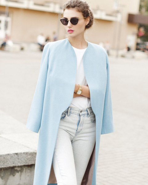 longline blazer with white tee and light blue jeans