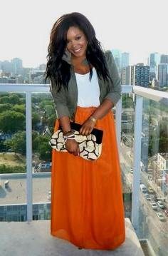 maxi skirt with grey cuffed blazer
